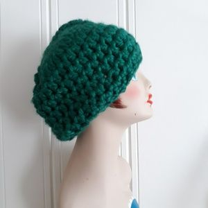 Vintage Handknit Green Slouchy Hat